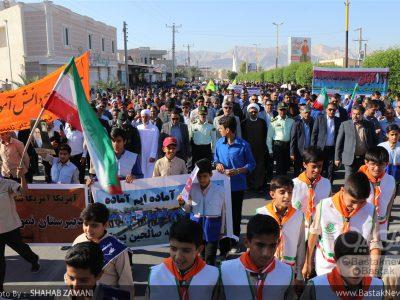 مراسم راهپیمایی یوم الله ۱۳ آبان در بستک برگزار شد