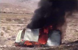 یک فوتی بر اثر واژگونی و آتش سوزی خودرو در محور بستک-لار